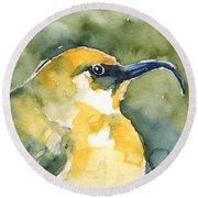 'akiapola'au - Hawaiian Yellow Honeycreeper Round Beach Towel