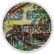 Yellow House By The River Round Beach Towel