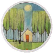 Yellow House In Woods Round Beach Towel