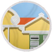 Yellow House Round Beach Towel