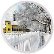 Yellow House With Snow Covered Picket Fence Round Beach Towel