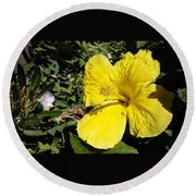 Yellow Hibiscus For Mom Round Beach Towel