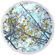 Yellow Leaves Vintage Round Beach Towel