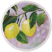 Yellow Lemons On Purple Orchid Round Beach Towel by Jen Norton