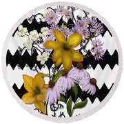 Yellow Lilies On Black And White Zigzag Round Beach Towel
