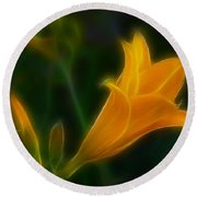 Yellow Lily 6011-fractal Round Beach Towel