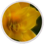 Yellow Lily 6069-fractal Round Beach Towel