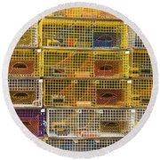 Yellow Lobster Traps In Maine Round Beach Towel