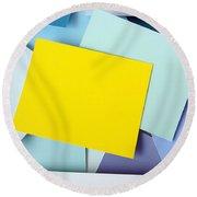 Yellow Memo Round Beach Towel by Carlos Caetano