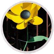 Yellow Metal Garden Flower Round Beach Towel
