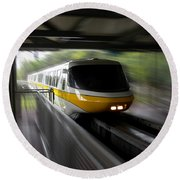 Yellow Monorail Entering The Station 02 Round Beach Towel