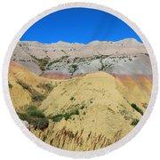 Yellow Mounds Badlands National Park Round Beach Towel