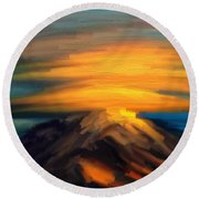 Yellow Mountaintop Hugged By Yellow Cloud  Round Beach Towel