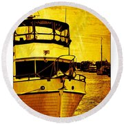 Yellow On The Water Round Beach Towel