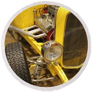 Street Car - Yellow Open Engine Round Beach Towel