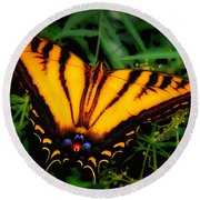 Yellow Orange Tiger Swallowtail Butterfly Round Beach Towel
