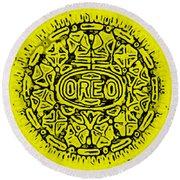 Yellow Oreo Round Beach Towel