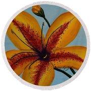 Yellow Oriental Lily Round Beach Towel