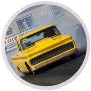 Yellow Pick Up Truck Round Beach Towel