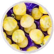 Yellow Plums Round Beach Towel