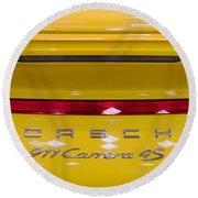 yellow Porsche Round Beach Towel