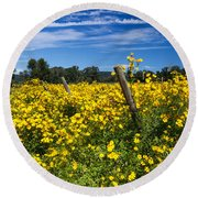 Yellow Profusion Round Beach Towel