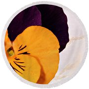 Yellow Purple Pansy Round Beach Towel