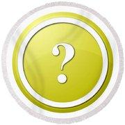 Yellow Question Mark Round Button Round Beach Towel
