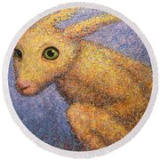 Yellow Rabbit Round Beach Towel