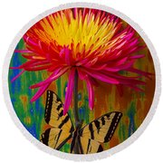 Yellow Red Mum With Yellow Black Butterfly Round Beach Towel
