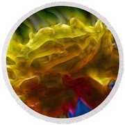 Yellow Rose Series - Colorful Fractal Round Beach Towel