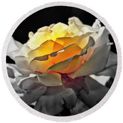 Yellow Rose Series - ...but Soul Is Alive Round Beach Towel