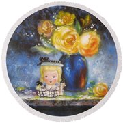 Yellow Roses And Headvase Girl Round Beach Towel