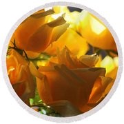 Yellow Roses And Light Round Beach Towel