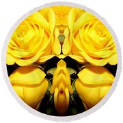 Yellow Roses Mirrored Effect Round Beach Towel