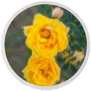 Yellow Roses On A Bush Round Beach Towel
