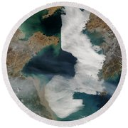 Yellow Sea - Satellite View Round Beach Towel