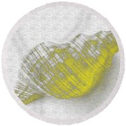 Yellow Seashell Round Beach Towel