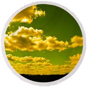 Yellow Skies Round Beach Towel