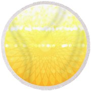 Yellow Spirograph Round Beach Towel