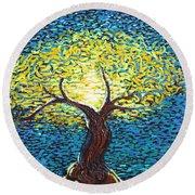 Yellow Squiggle Tree Round Beach Towel