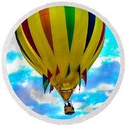 Yellow Striped Hot Air Balloon Round Beach Towel