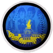 Yellow Submarine Baseball Square Round Beach Towel