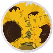 Yellow Sunflowers Round Beach Towel