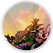 Yellow Sunrise And Flowers - Vertical Round Beach Towel