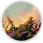 Yellow Sunrise With Flowers - Square Round Beach Towel