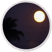 Yellow Super Moon Round Beach Towel