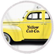 Yellow Taxi Cab Round Beach Towel