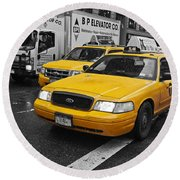 Yellow Taxi Color Pop Round Beach Towel