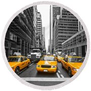 Yellow Taxis In New York City - Usa Round Beach Towel